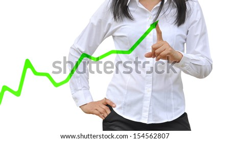 working women hand pushing a business graph - stock photo
