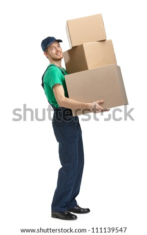 Workman delivers three boxes, isolated, white background - stock photo