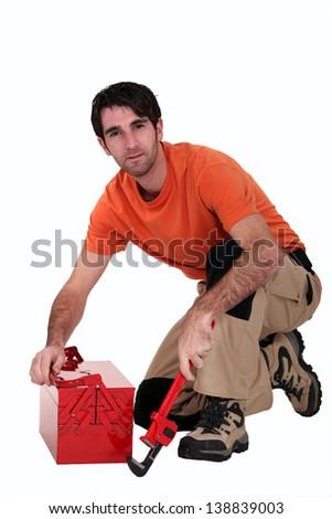 Workman on white background - stock photo