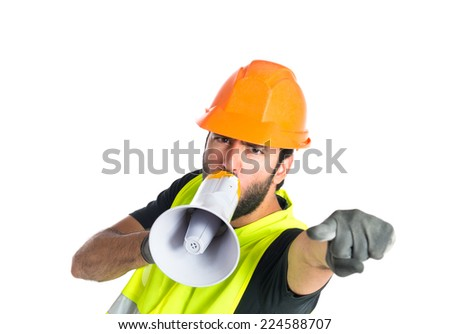 Workman shouting over isolated white background - stock photo