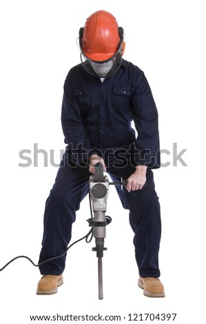 workman using pneumatic drill isolated on white background - stock photo