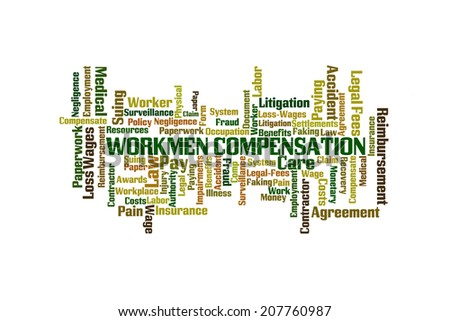 Workmen Compensation Word Cloud on White Background - stock photo