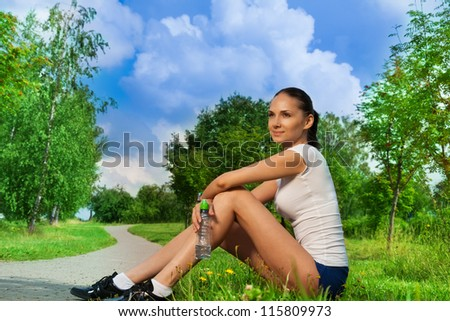 workout break in the park - stock photo