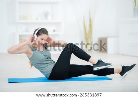 Workout routine at home - stock photo