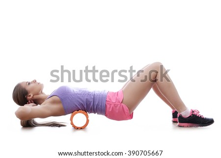 Workout. Woman in the gym - stock photo