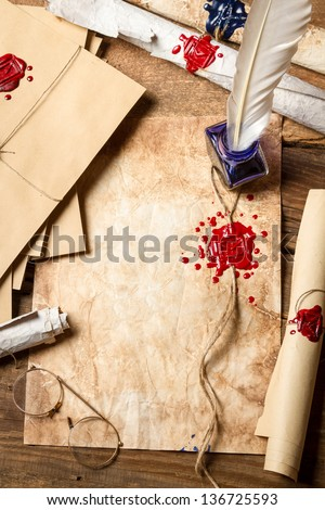 Workplace ancient scribe who wrote letters and scrolls - stock photo