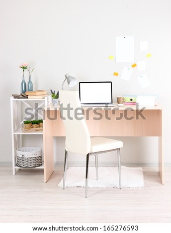 Workplace at home with laptop, close up - stock photo