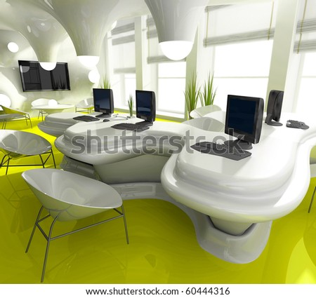 Workplace at modern office 3 d image - stock photo