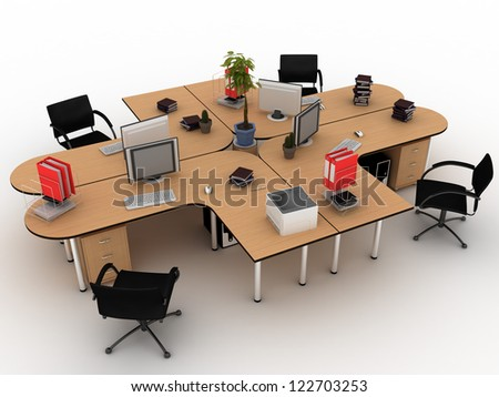 Workplace desks on white background  - stock photo
