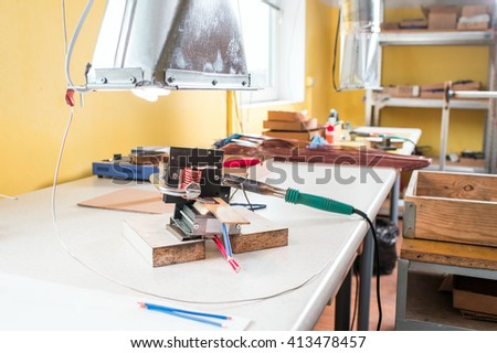 workplace for soldering - stock photo