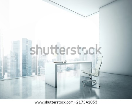 Workplace in front of panoramic window with cityscape - stock photo