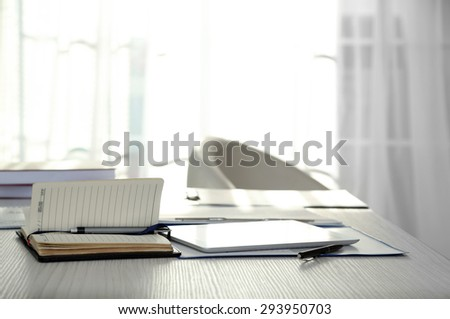 Workplace in office close up - stock photo