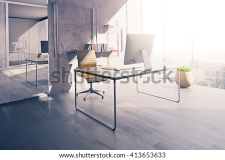 Workplace in sunlit office interior with mirror, wooden floor and concrete wall. 3D Rendering - stock photo
