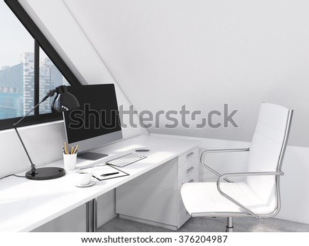 Workplace in the office, computer, keyboard, mouse, lamp, pencils, coffee on the table, window behind the table. City view, side view. Concept of work. 3D rendering - stock photo