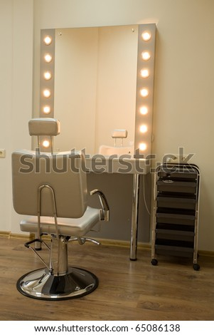 Workplace makeup artist. Barbershop. - stock photo