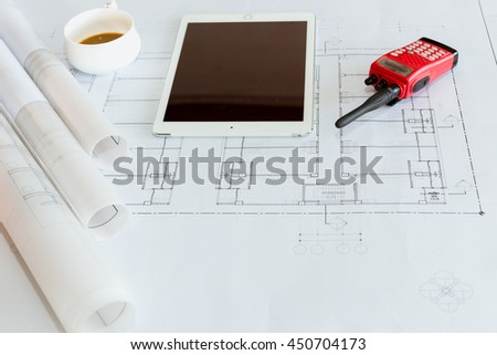 Workplace of architect - Architect rolls and plans.architectural plan,technical project drawing. Construction background - stock photo