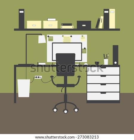 Workplace with big table, chair, lamp, monitor, mouse, cup, shelves, books, boxes, folders, board, notes, bin and green walls and brown floor as background - stock photo