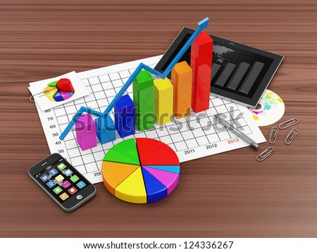 Workplace with Colorful Business Graph, Pie Chart, Tablet PC and Touchscreen Smartphone - stock photo