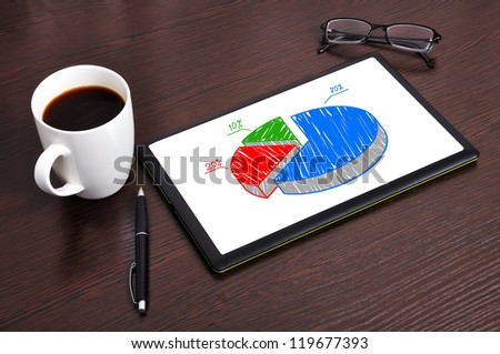 Workplace with pie diagram on digital tablet - stock photo