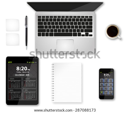 Workplace with tablet computer and mobile phone on table - stock photo