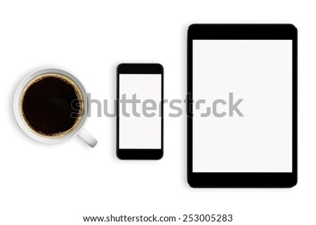 Workplace with tablet pc and smartphone on table close-up  - stock photo