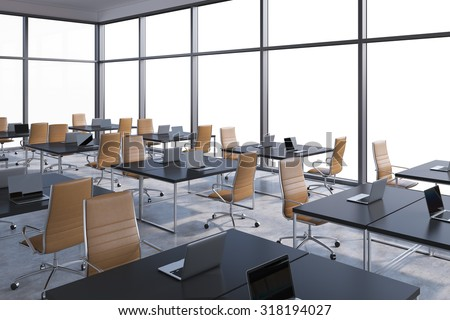 Workplaces in a modern corner panoramic office, copy space in the windows. Open space. Black tables and brown leather chairs. A concept of financial international services. 3D rendering. - stock photo