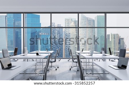 Workplaces in a modern panoramic office, Singapore city view from the windows. Open space. White tables and black leather chairs. A concept of financial consulting services. 3D rendering. - stock photo