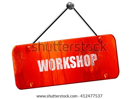 workshop, 3D rendering, vintage old red sign - stock photo