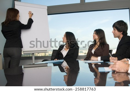 Workshop in boardroom - stock photo