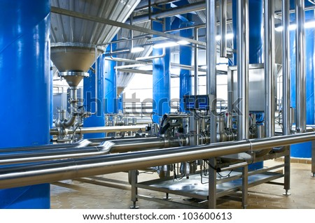 Workshop of modern brewer factory - stock photo