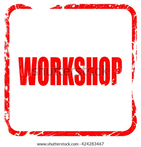 workshop, red rubber stamp with grunge edges - stock photo
