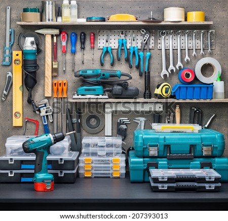 Workshop scene.  Tools on the table and board. - stock photo