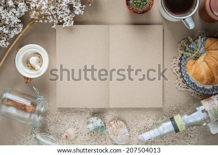 Workspace - Notebook paper with object on table. Background free - stock photo