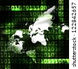 world and binary code techno abstract illustration - stock photo