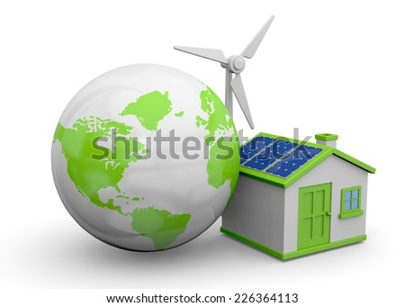 World and Renewable Energies - 3D - stock photo