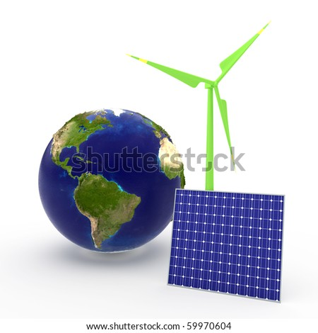 World and solar cell and windmill - stock photo