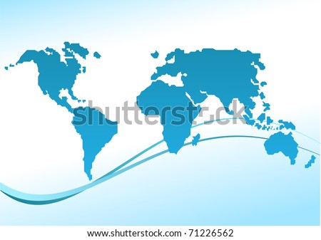 World card on a blue background - stock photo