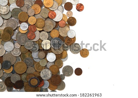 world coins isolated on the white background - stock photo