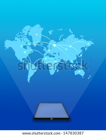 world connection in tablet - stock photo