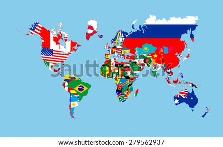 world countries flags map symbols complete illustration - stock photo