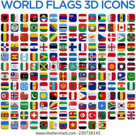 World country flags 3D and isolated square icons. - stock photo