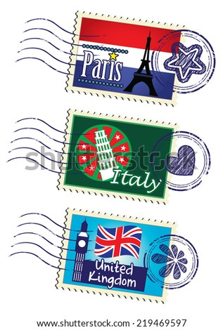 World country travel landmark stamp set - stock photo