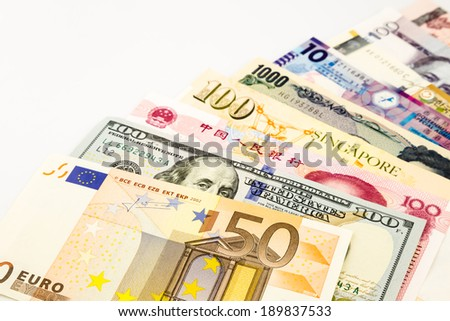 world currency banknotes, currency and money for banking  business concept - stock photo