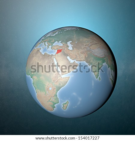 World earth globe Europe Middle East Syria conflict - stock photo