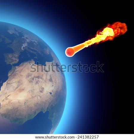 World earth globe explosion meteorite asteroid impact. Element of this image are furnished by NASA - stock photo