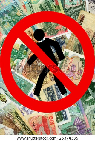 World economic crisis. The fall of the dollar continues. - stock photo