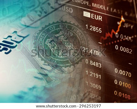 World economics graph and euro sign. Finance concept. - stock photo