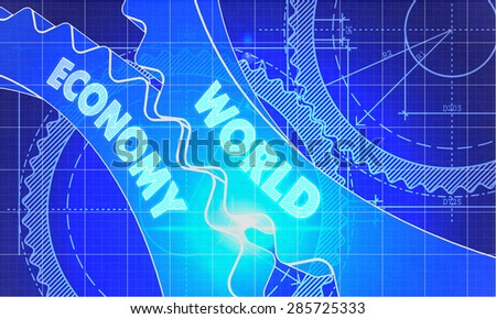 World Economy on the Mechanism of Gears. Blueprint Style. Technical Design. 3d illustration, Lens Flare. - stock photo
