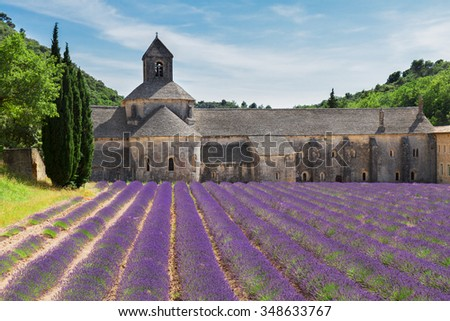 world famous Abbey Senanque and blooming  Lavender field, France - stock photo