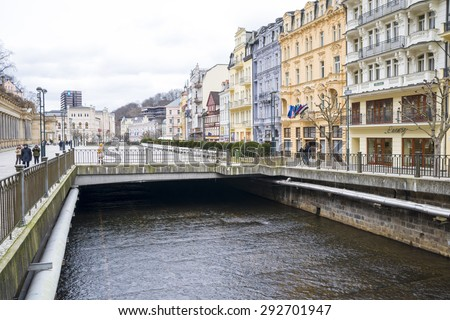 World-famous for its mineral springs, the town of Karlovy Vary (Karlsbad) was founded by Charles IV in the mid-14th century. Czech Republic, 20.03.2015 - stock photo